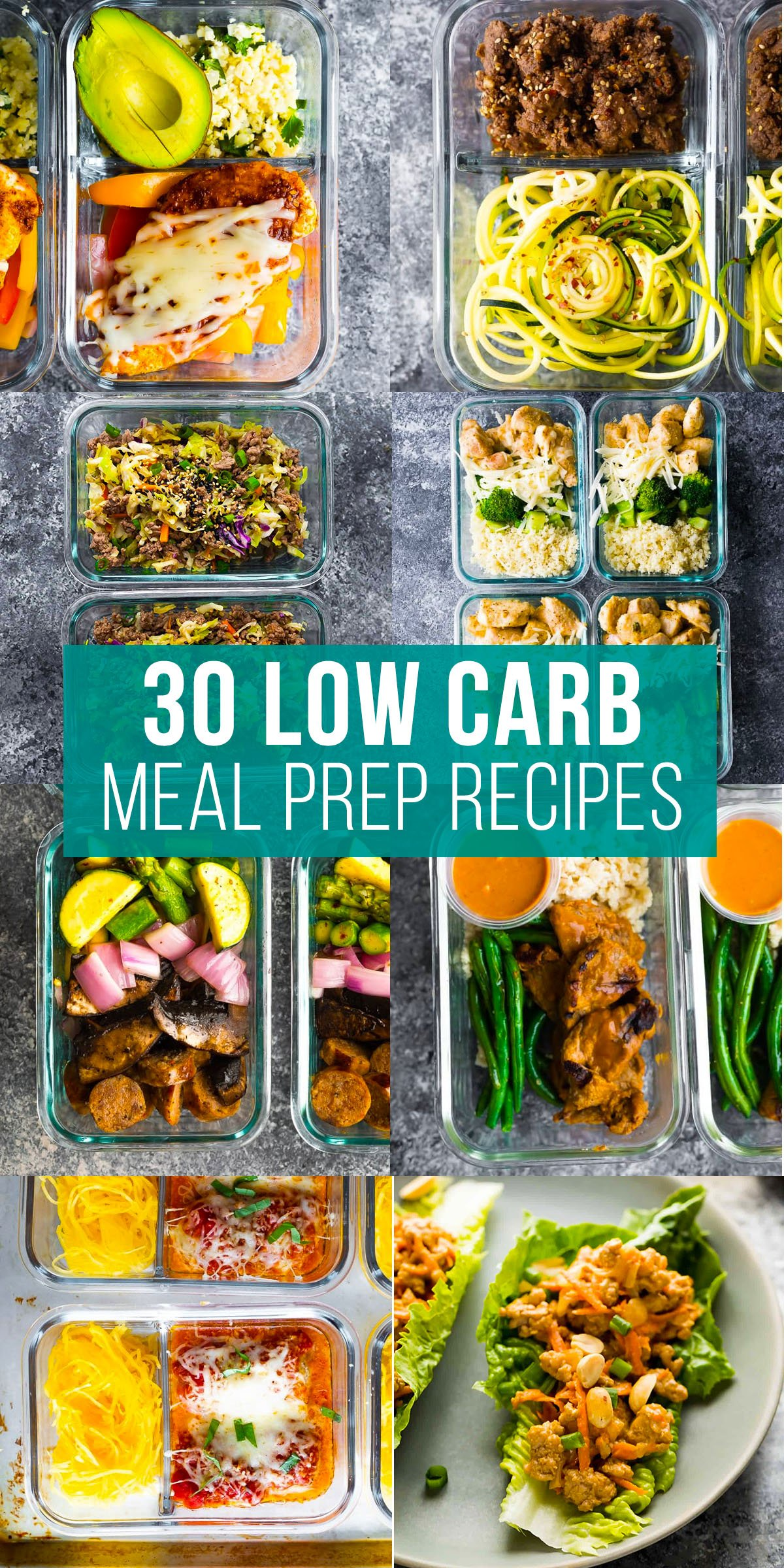 collage image with low carb meal prep recipes