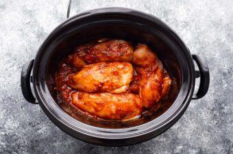 slow cooker chicken fajitas in slow cooker before cooking