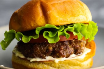 side angle view of air fryer burger on plate
