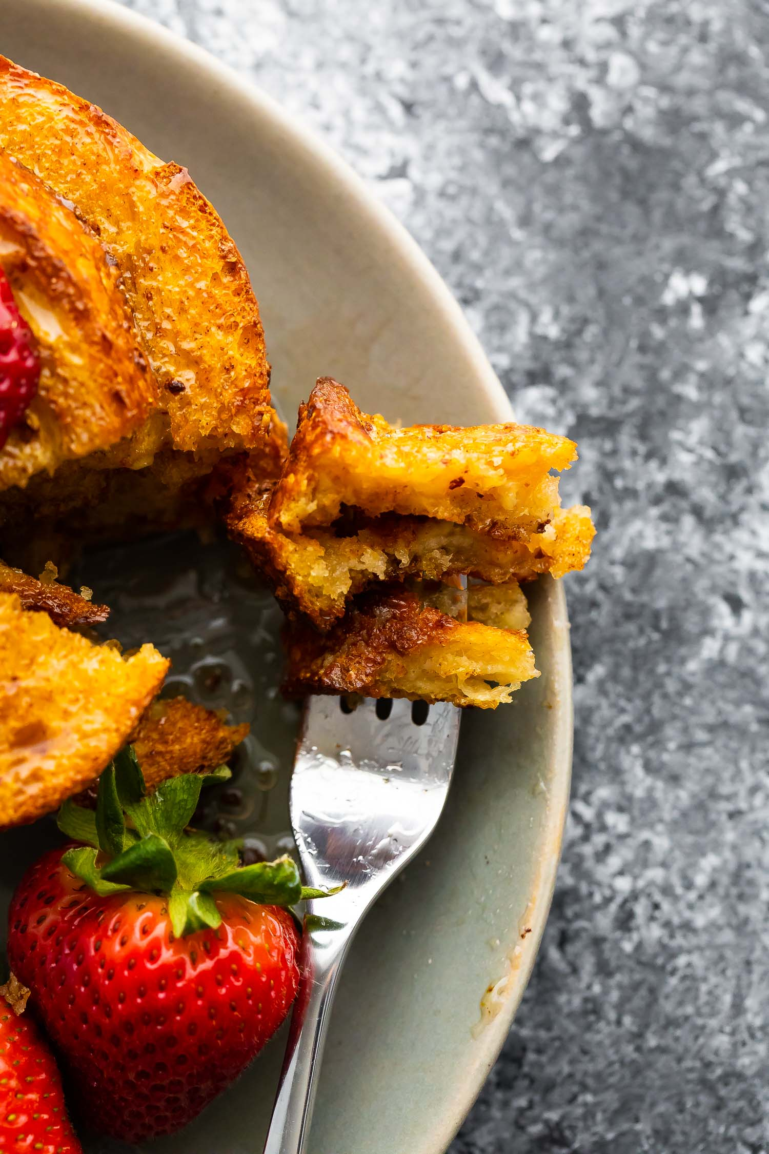 air fryer french toast on fork