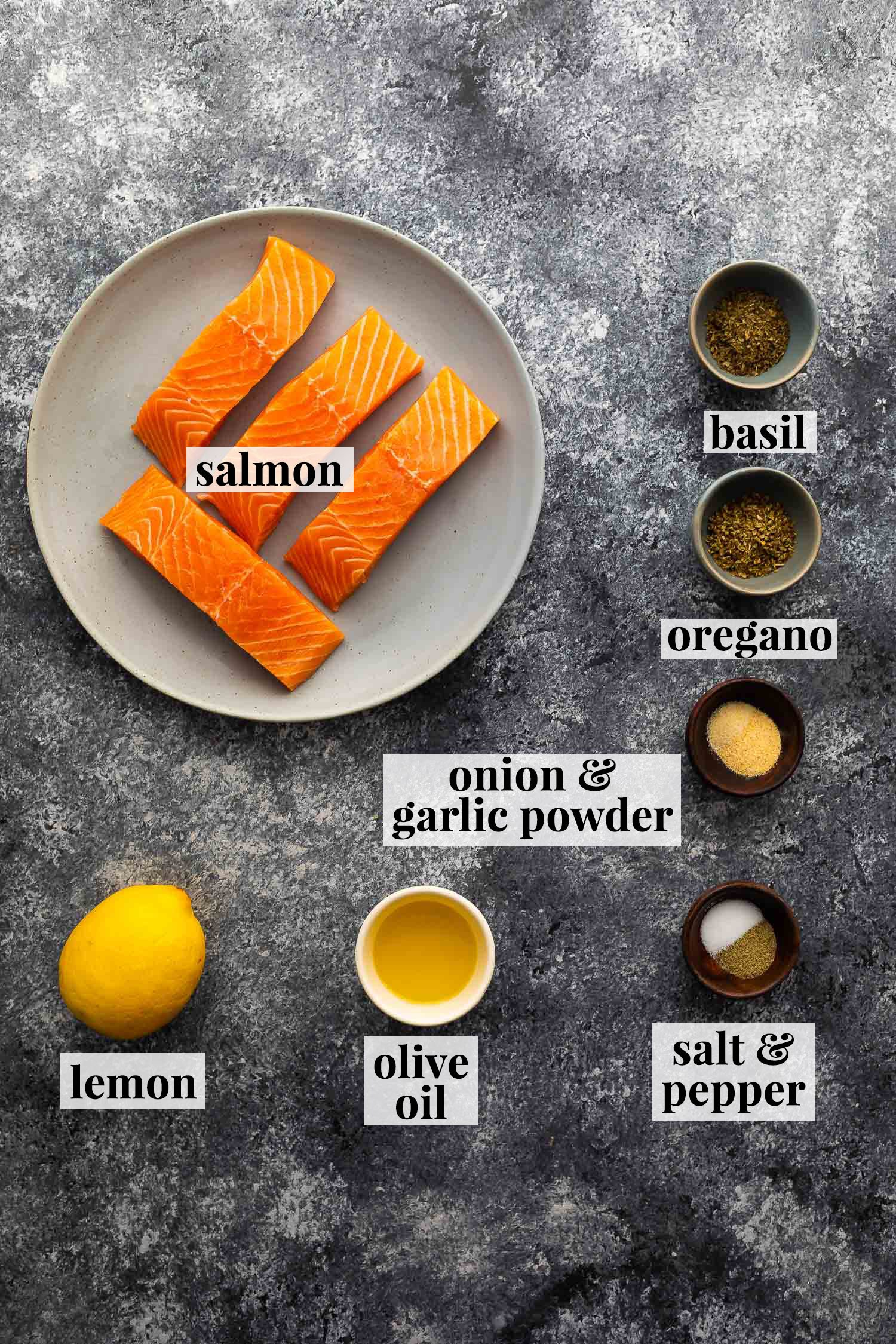 ingredients (labelled) required to make herb crusted salmon