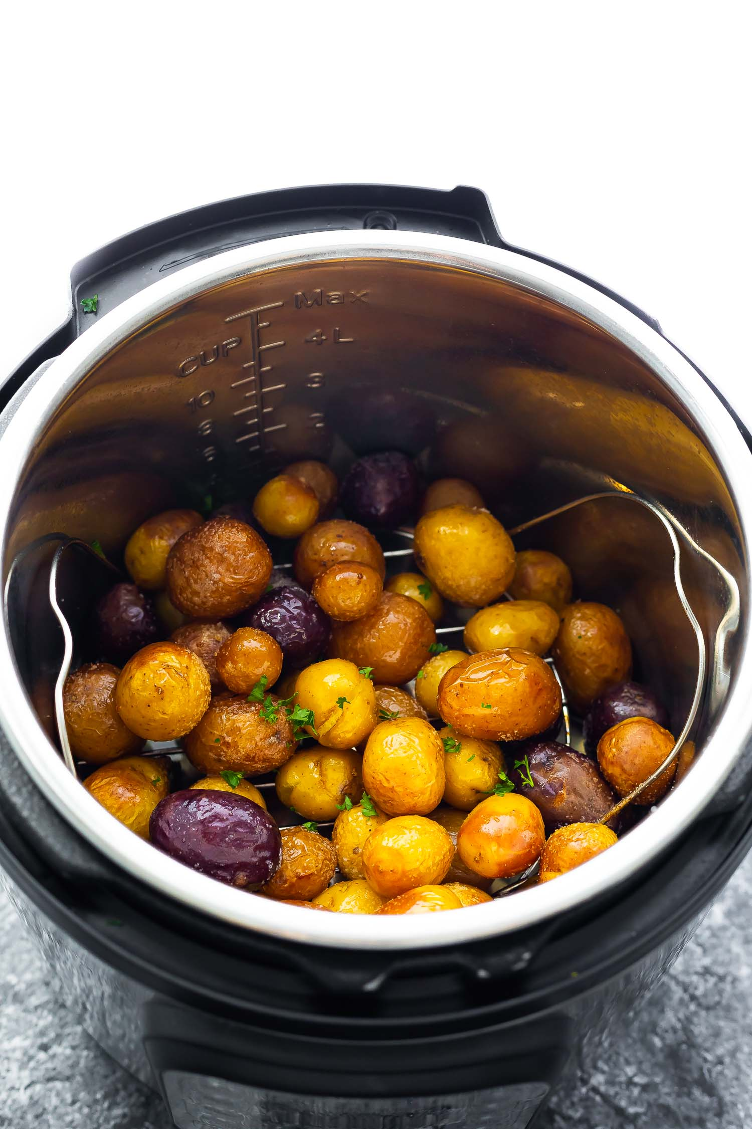 baby potatoes in instant pot after cooking and air frying
