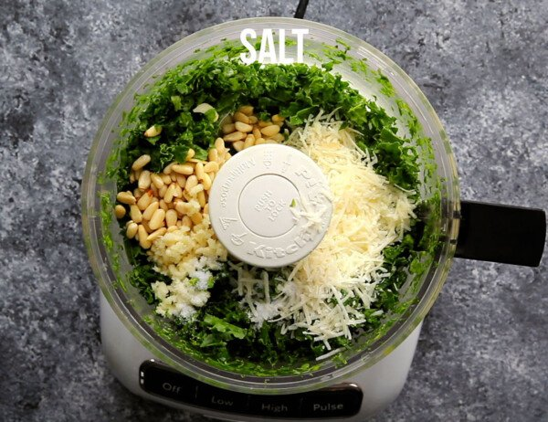 ingredients for kale pesto in the food processor