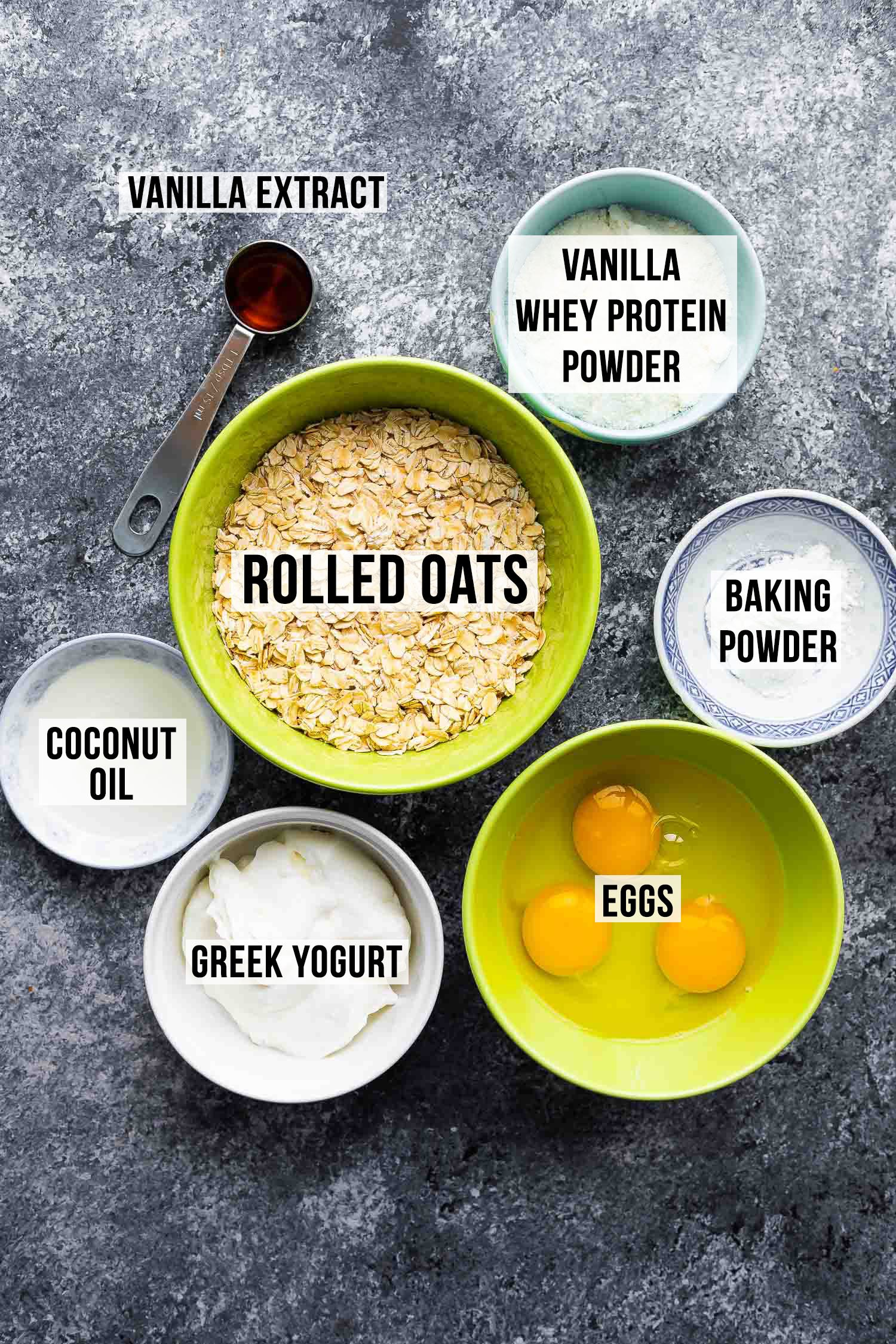 ingredients (labelled) required to make protein pancakes
