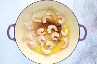 cooking shrimp for the shrimp stir fry