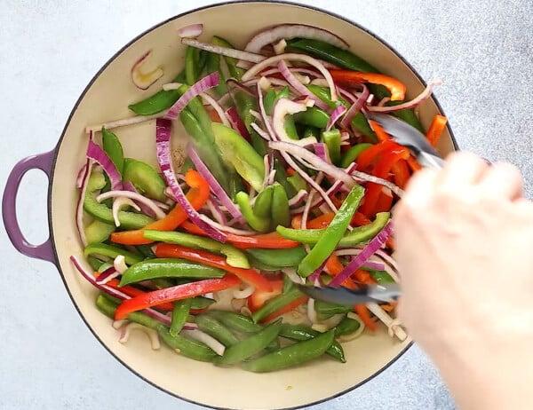 cooking vegetables for shrimp stir fry