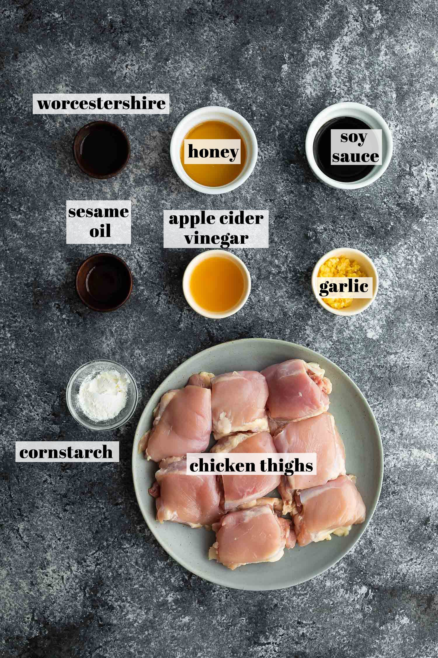 ingredients (labelled) for baked honey garlic chicken thighs