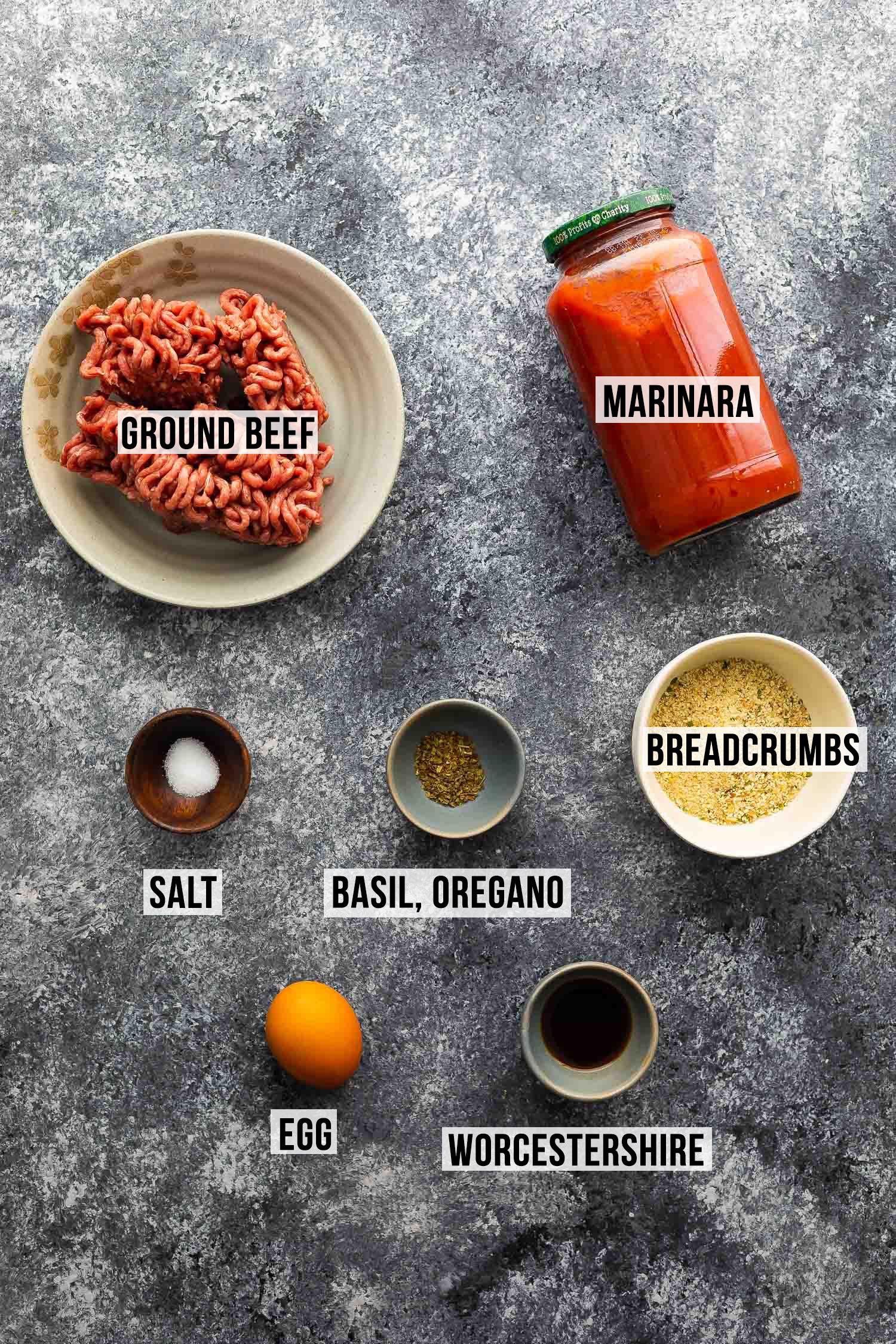 ingredients (labelled) for instant pot meatballs
