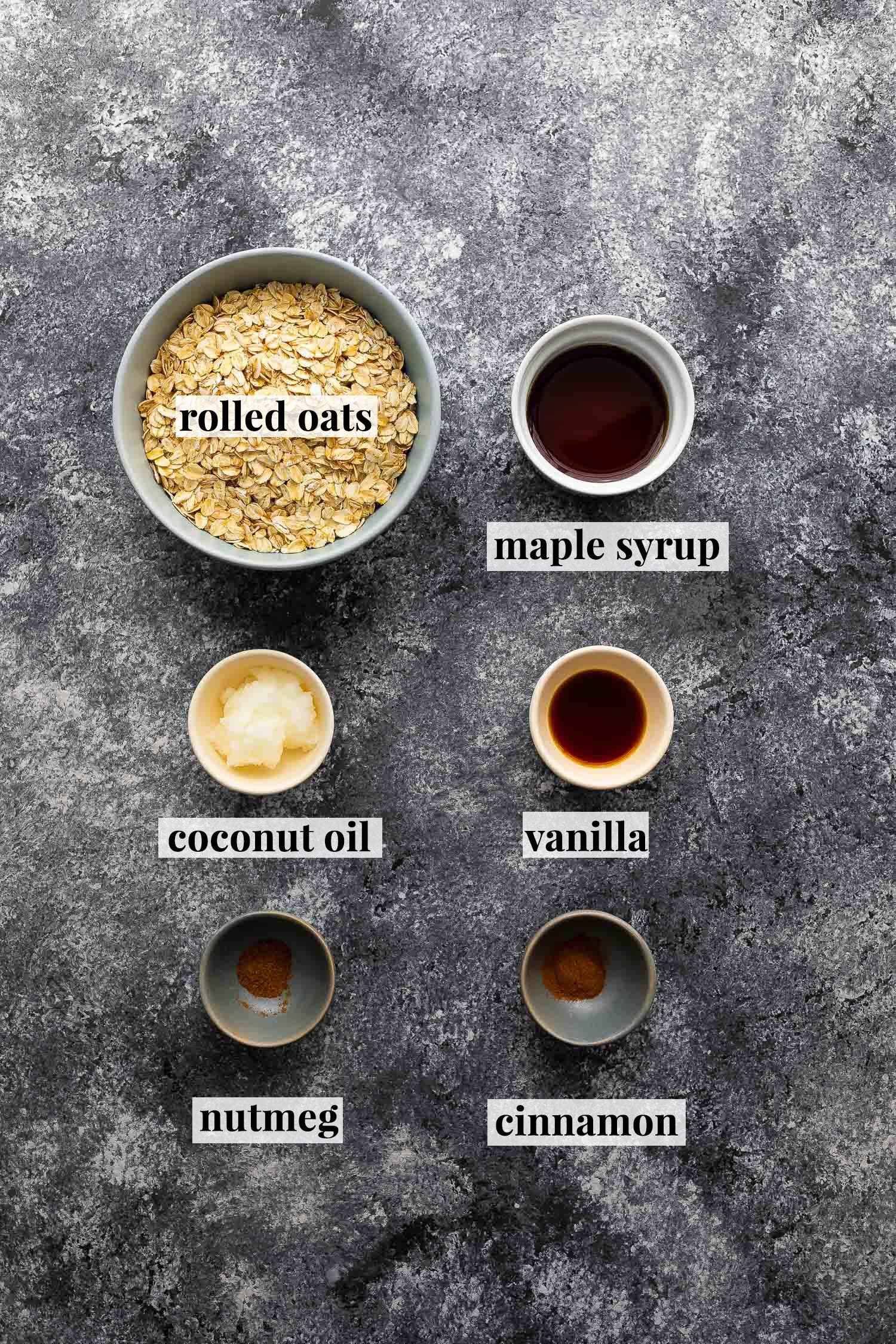 overhead view (labelled) of ingredients required to make instant pot oatmeal