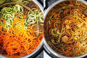collage image showing before and after adding spiralized vegetables to the instant pot