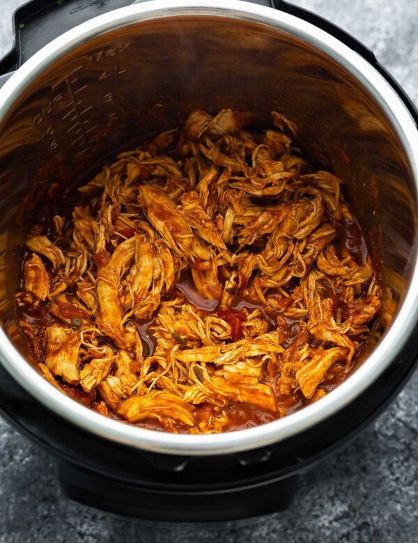 salsa chicken in the Instant Pot after cooking