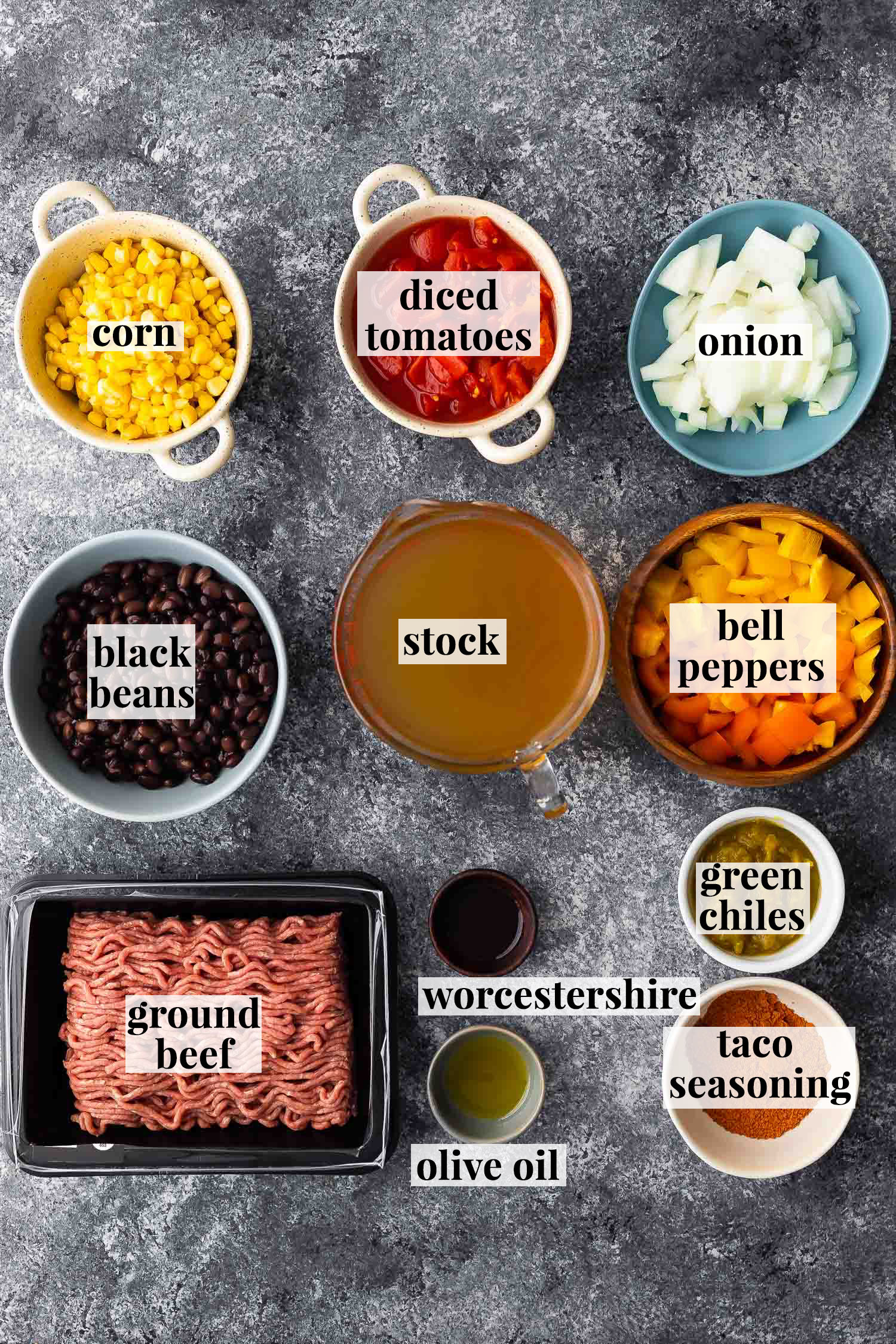 ingredients (labelled) for instant pot taco soup
