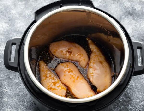 uncooked teryaki chicken in the instant pot