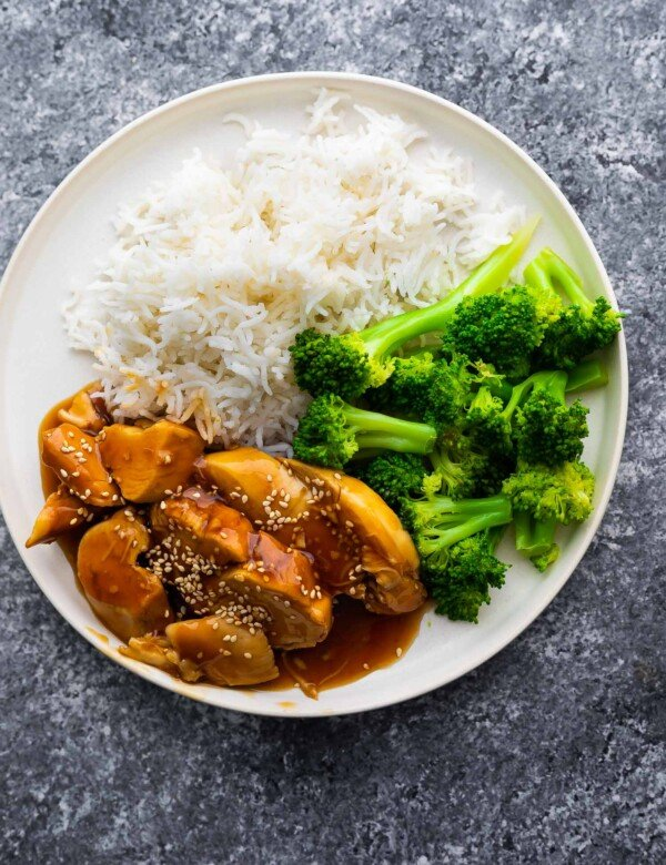 overhead view of teriyaki chicken on plate with rice and broccoli