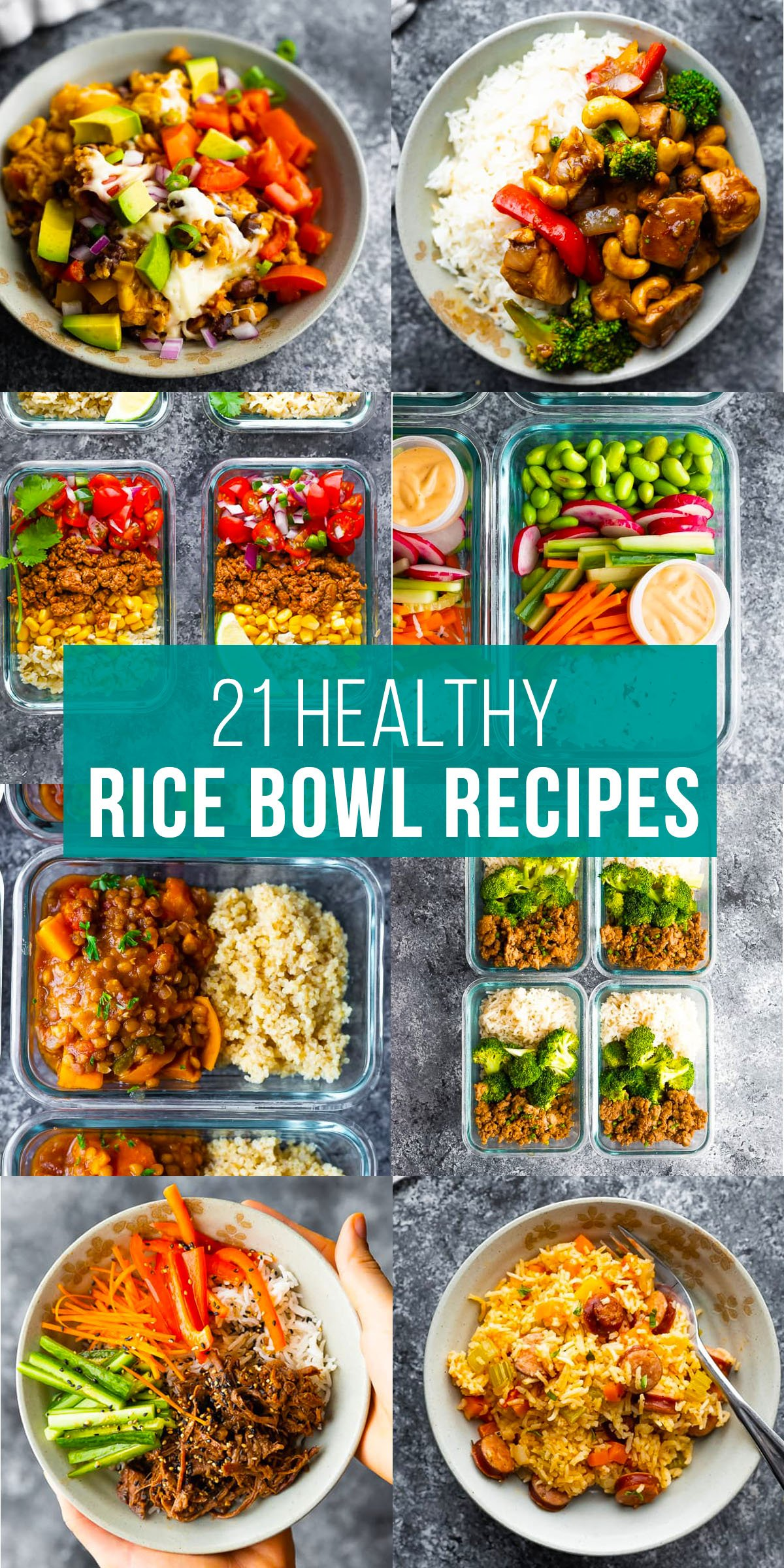 collage image that shows 21 healthy rice bowls