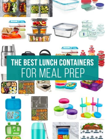 collage image with lunch containers and the words 'the best lunch containers for meal prep'