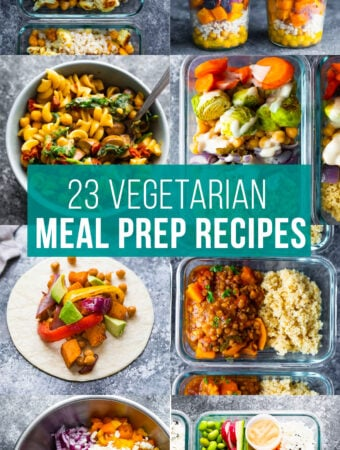 collage image that says 23 vegetarian meal prep recipes