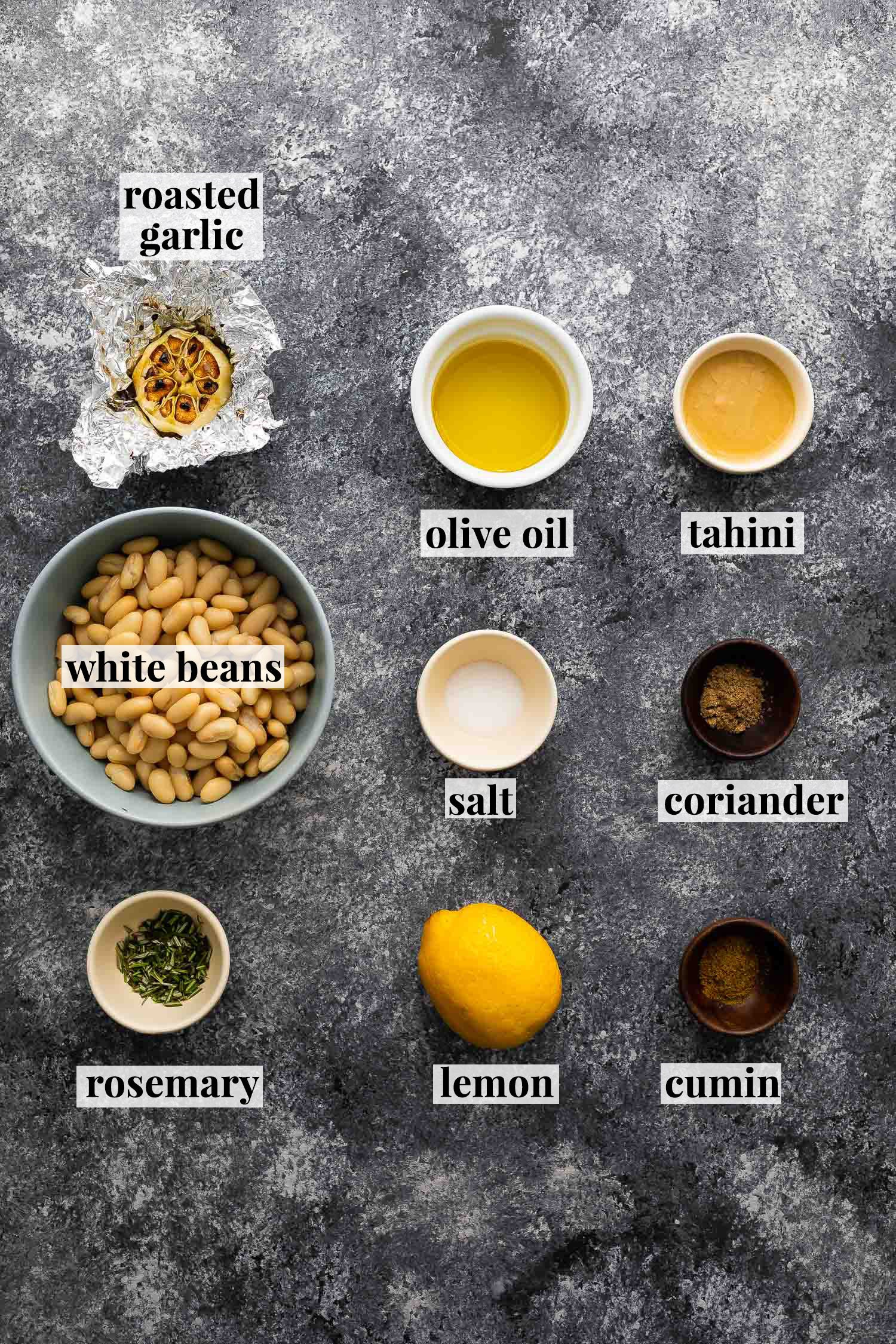 ingredients required to make white bean hummus (with labels)
