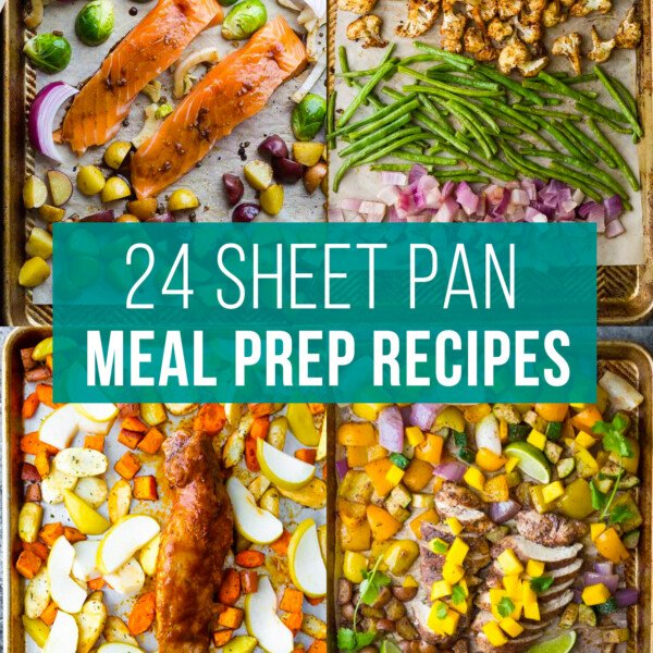 image graphic with text reading: 24 sheet pan meal prep recipes