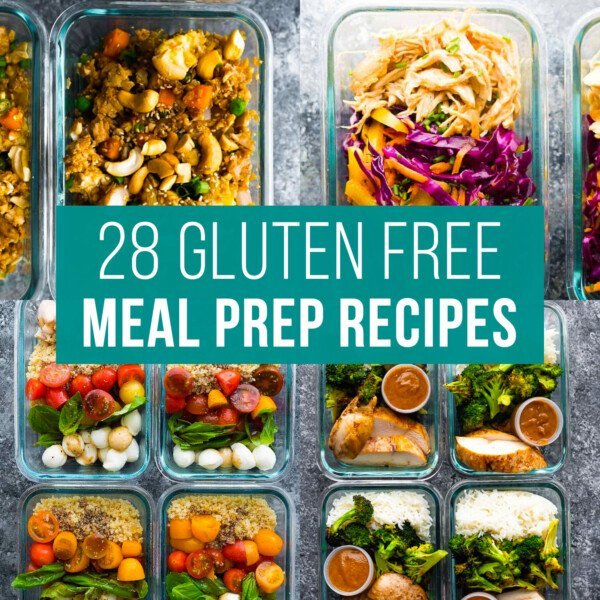 image graphic with text reading: 28 gluten free meal prep recipes