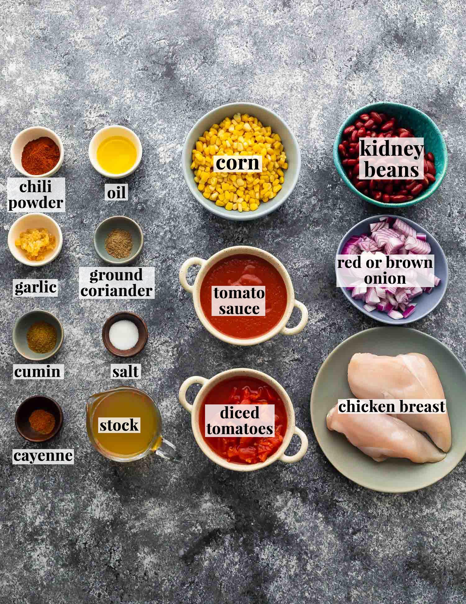 ingredients required to make chicken chili