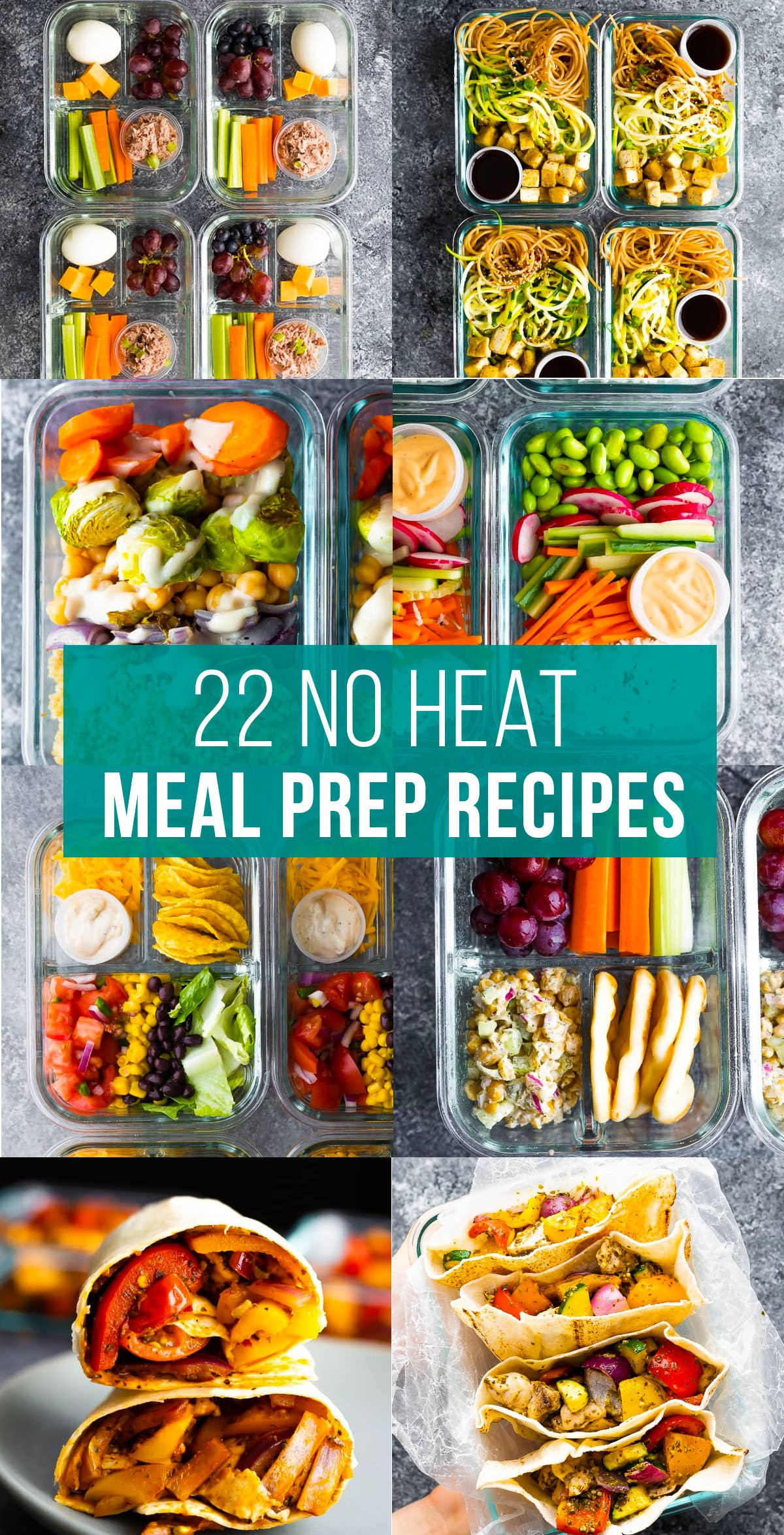 collage image that says no heat meal prep recipes