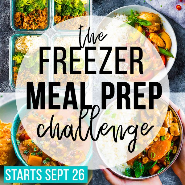 collage image that says 'the freezer meal prep challenge'