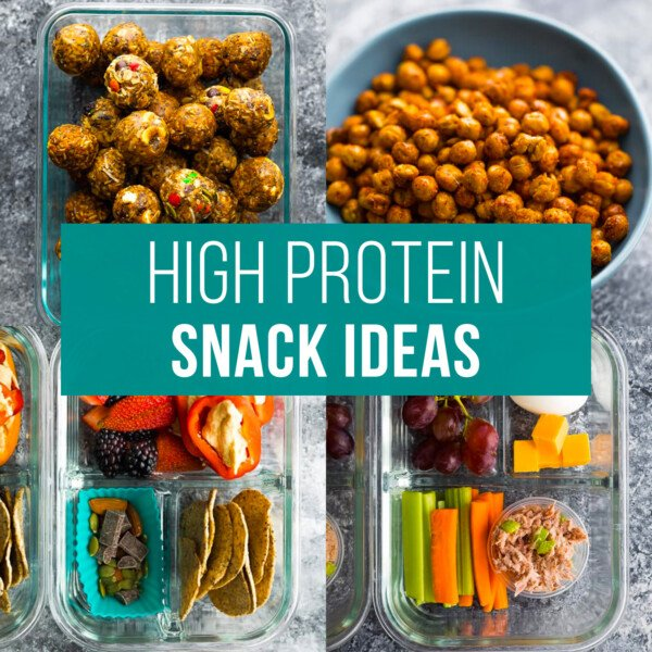 meal prep friendly high protein snack ideas. Graphic with 8 snack images; text reads high protein snack ideas