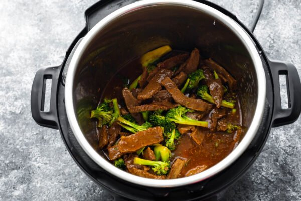 broccoli added to beef and broccoli recipe in the instant pot