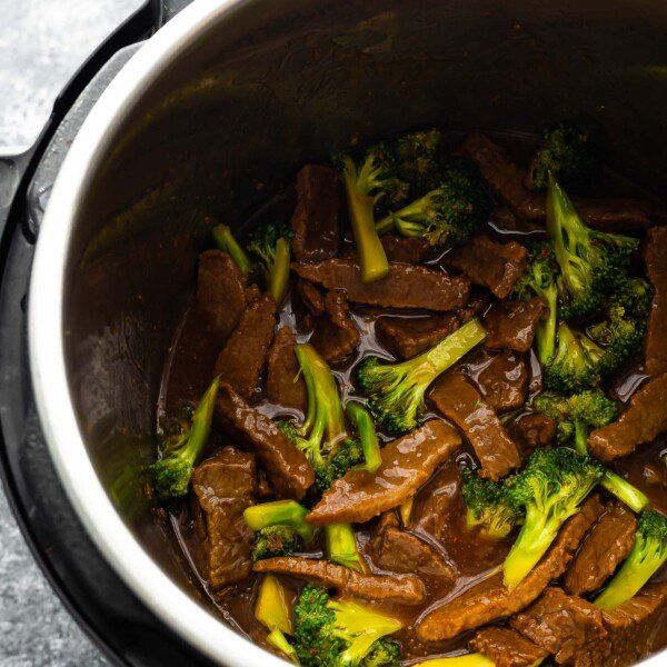 overhead view of beef and broccoli in the instant pot