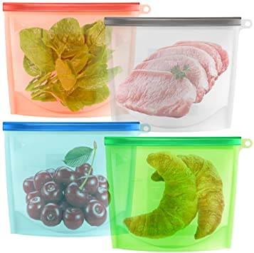 maxin reusable silicone food storage bags in blue, green, orange, clear