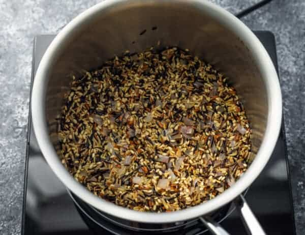 toasting wild rice blend in pot