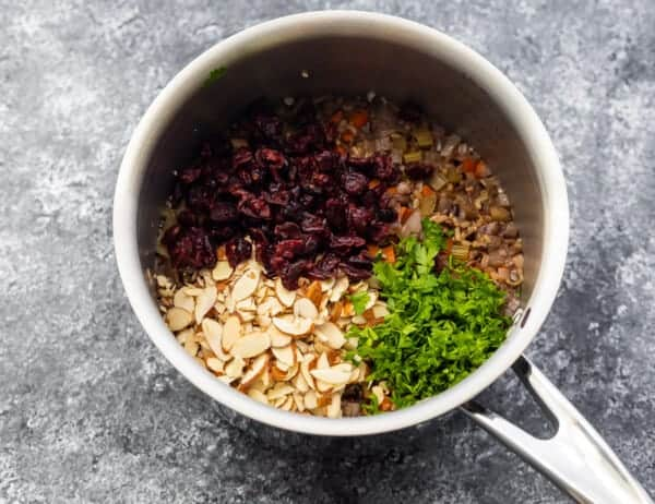 stirring in the parsley, almonds and dried cranberries after cooking wild rice pilaf