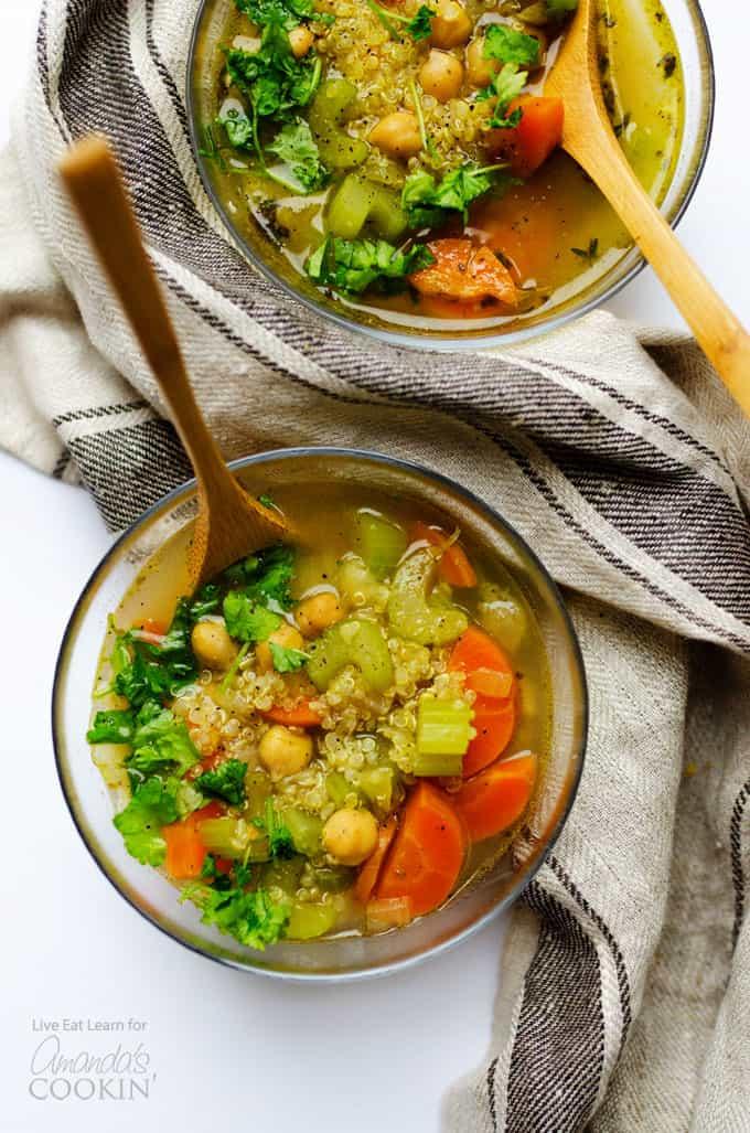 Healthy vegetable soup above shot