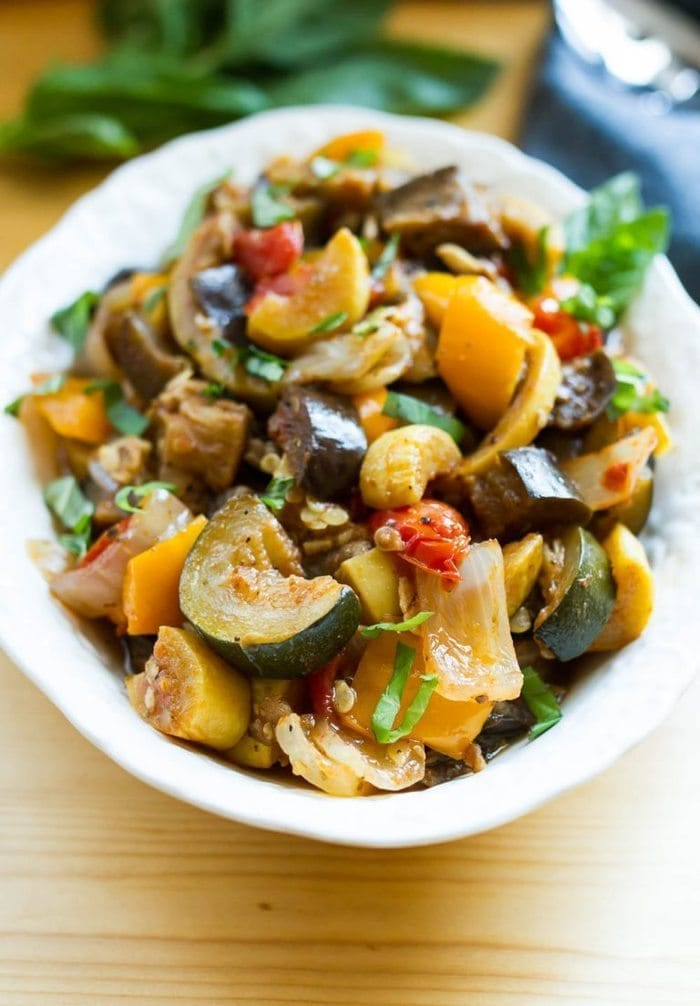 Slow Cooker Ratatouille -served in a white bowl