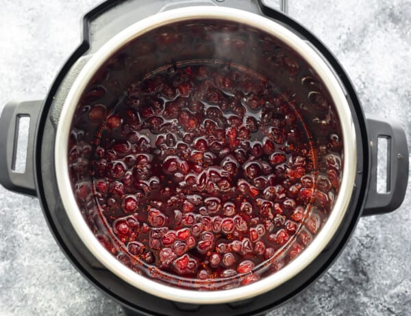 overhead view of instant pot after cooking cranberry sauce