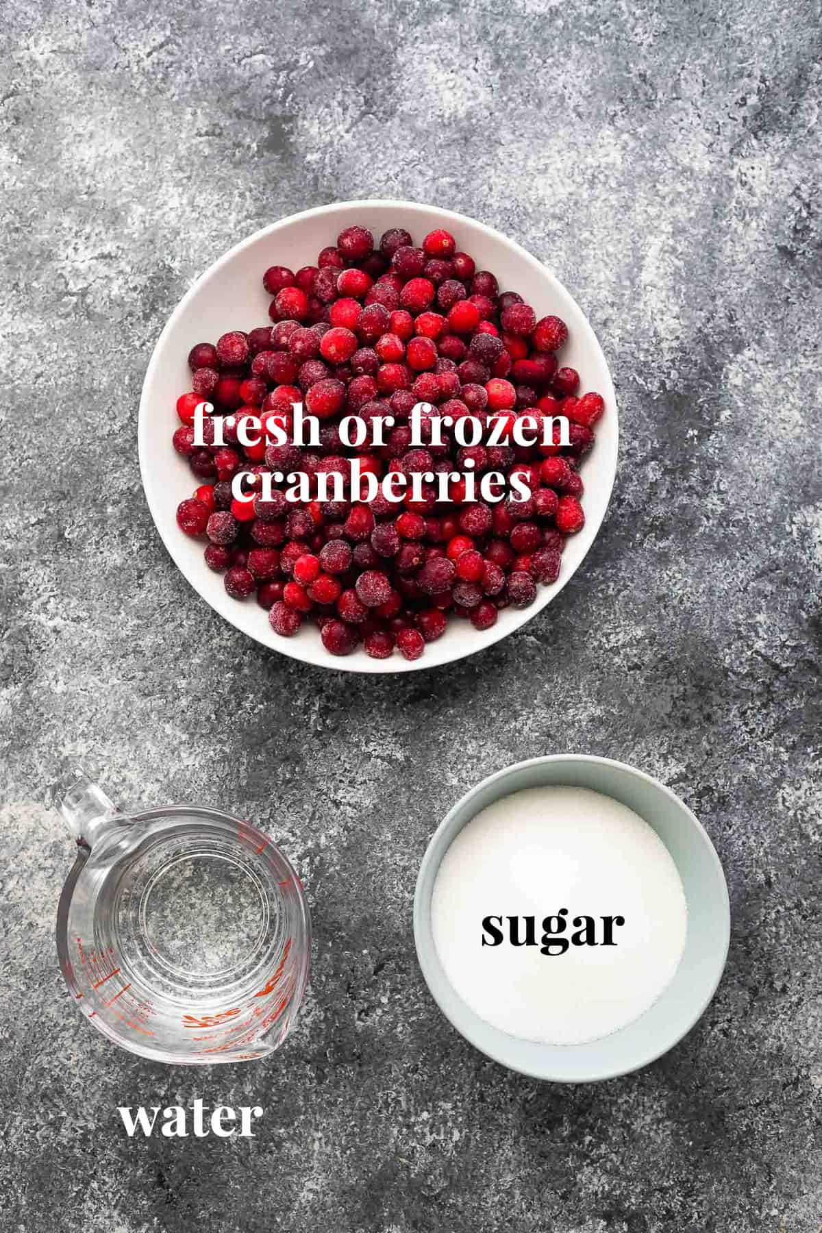 ingredients required to make cranberry sauce