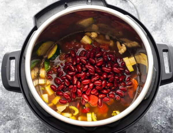 ingredients for vegetable soup in instant pot before cooking
