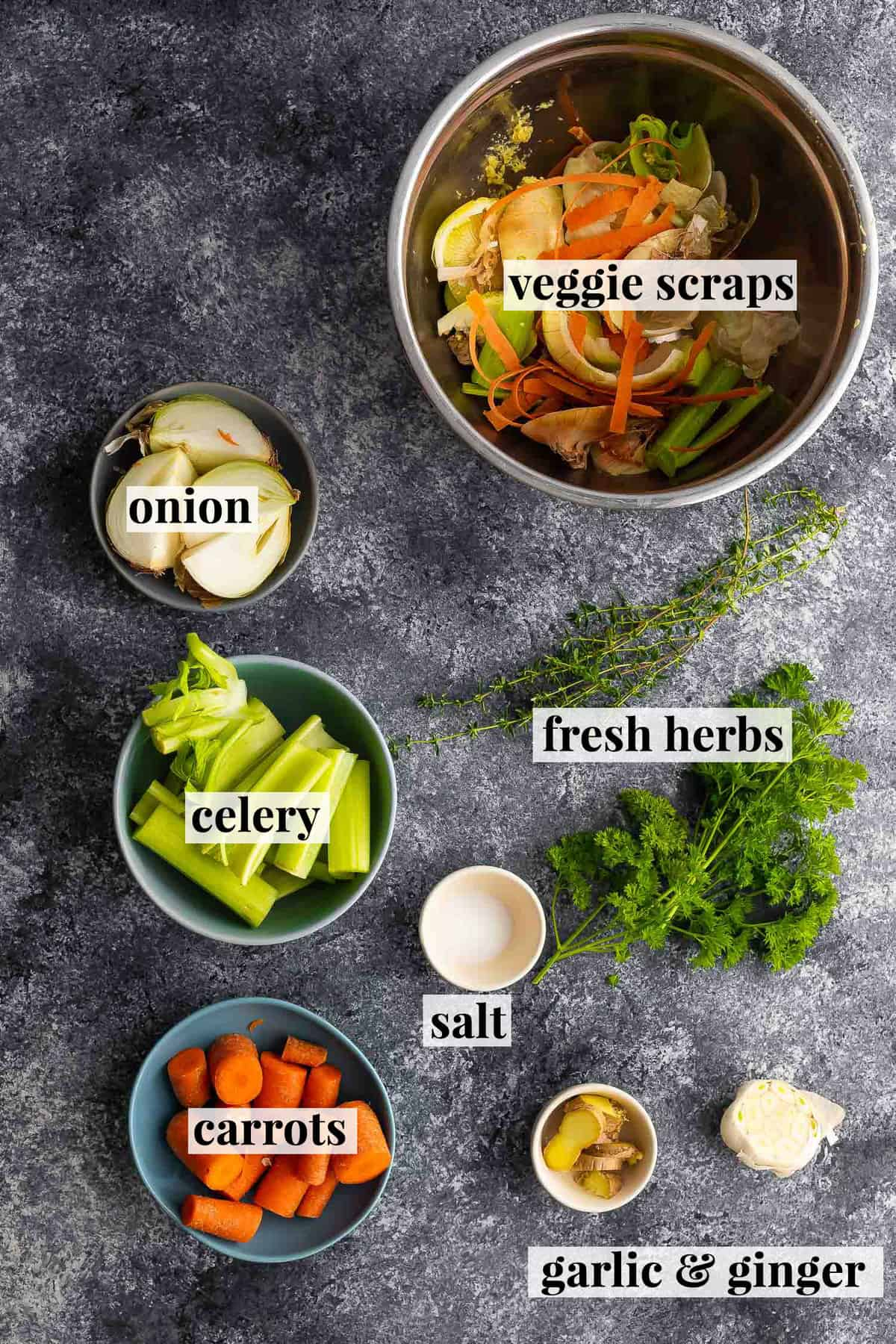 ingredients required to make vegetable stock