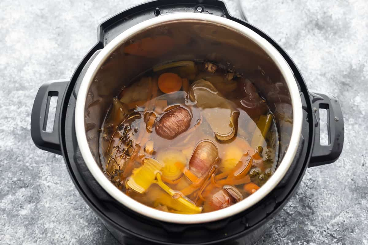 vegetable stock ingredients in instant pot after cooking