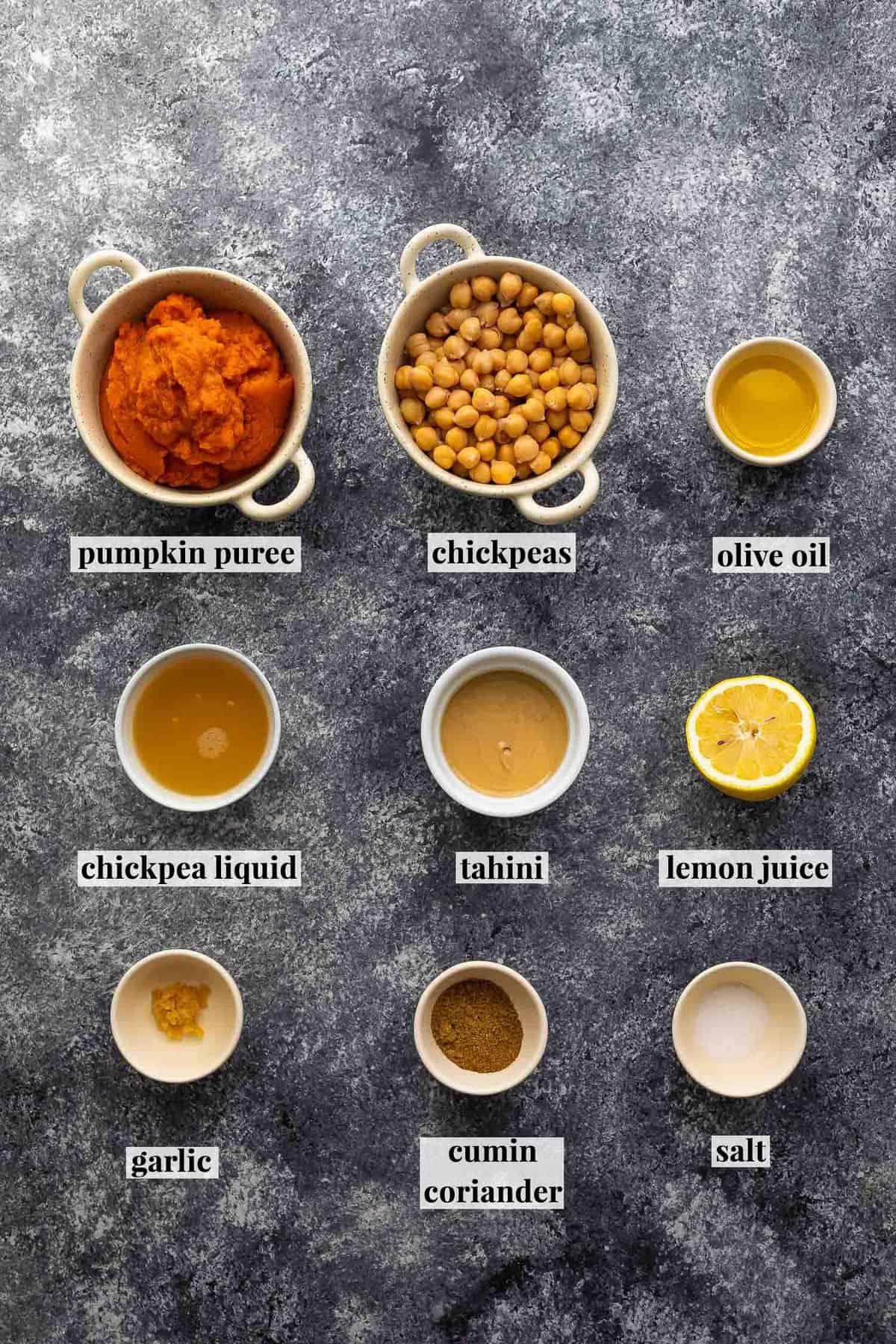 ingredients required to make pumpkin hummus
