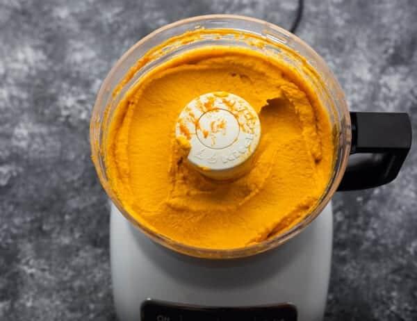 pumpkin hummus in food processor after blending