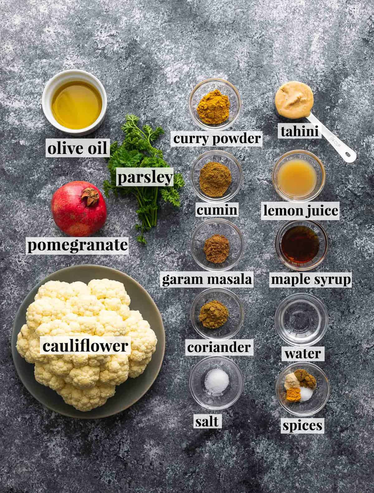 ingredients required to make whole roasted cauliflower